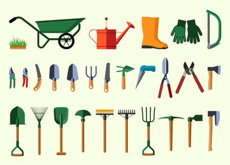 ガーデン ツール。ガーデニング アイテムのイラストをフラット デザイン。ベクトルの図。