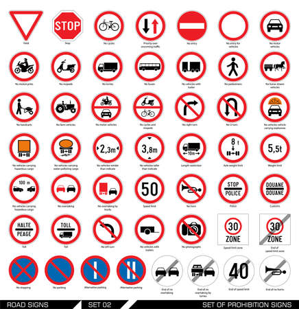 Collection of mandatory and prohibition traffic signs. Vector illustration.
