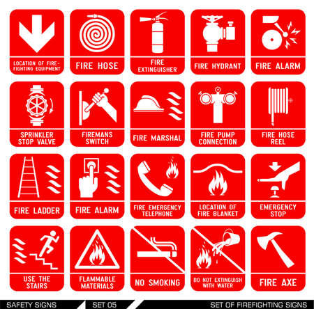 Set of firefighting signs. Collection of warning signs. Vector illustration. Signs of danger. Signs of alerts. Fire icons.