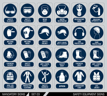 Mandatory construction and industry signs. Colection of safety and health protection equipment. Protection on work. Vector illustration.