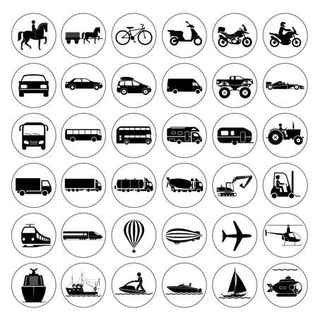 Illustration pour Collection of signs presenting different modes of transport on land, water and in the air. Vintage and modern means of transportation. Transportation icons.  - image libre de droit