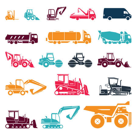 Collection of heavy trucks. Heavy-duty vehicles, designed for executing construction tasks and earthwork operations.