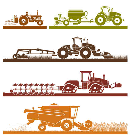 Set of different types of agricultural vehicles and machines harvesters, combines and excavators. Icon set of working machines. Agricultural machines with accessories for plowing, mowing, planting, spraying and harvesting.