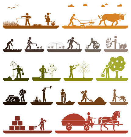 Mowing, plowing, planting, watering, pruning trees, digging, chopping wood, baling hay, collecting crops, transporting with horse drawn wagon. Agriculture icons.のイラスト素材