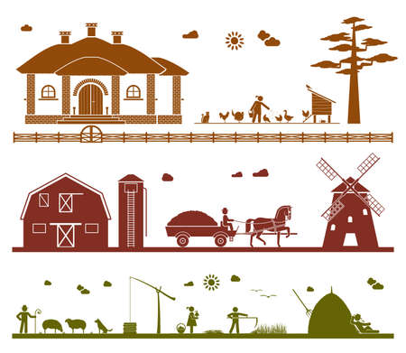 Feeding domestic animals, transporting crops with horse drawn wagon to a windmill, grazing sheep, taking water out of the well, mowing, resting in the field. Agriculture icons.
