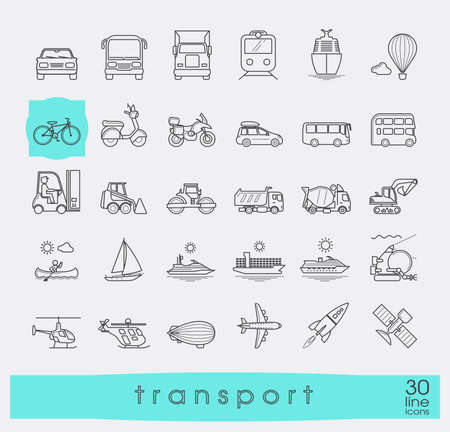 Set of transportation icons  Various means of transportation road