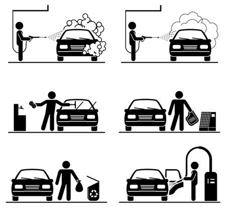 Illustration for Set of car washing pictograms. Professional car wash. Deep cleaning. - Royalty Free Image