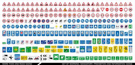 Ilustración de More than 250 road signs. Collection of warning, mandatory, prohibition and information traffic signs. European traffic signs collection. Vector illustration. - Imagen libre de derechos
