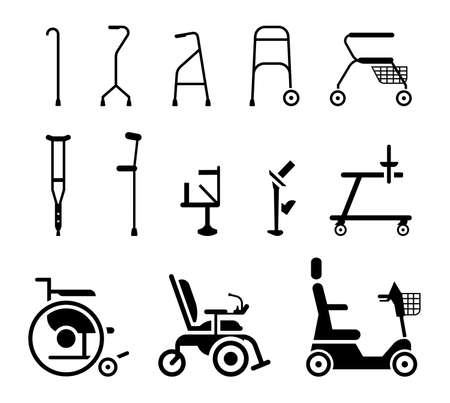 Illustration pour Set of icons that represent orthopedic equipment, wheelchair,crutches and mobility aids. Various orthopedic accessories and wheel chair which assist handicapped, elderly and injured people to move. - image libre de droit