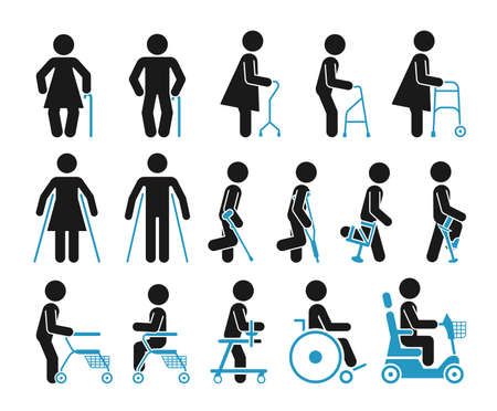 Illustration pour Set of icons which represent people using various orthopedic equipment.  Pictograms that represent handicapped, elderly and injured people who use orthopedic accessories and wheel chair to help them move. - image libre de droit