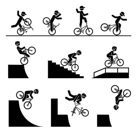 Illustration in form of pictograms which represent doing acrobatics with bicycle. Bicycle tricks and stunts. Riding bmx on a ramp, stairs and on a railing. Enjoyment in extreme adrenaline sport.
