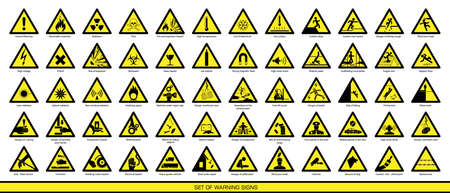 Ilustración de Collection of warning signs. Set of safety signs. Caution signs. Signs of danger. Signs of alerts. - Imagen libre de derechos