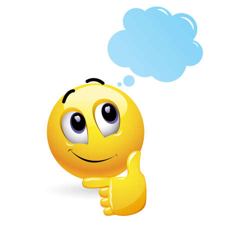 Illustration pour Smiley and imagination. Cloud with toughts. Thoughtful smiley with cloud above his head. - image libre de droit