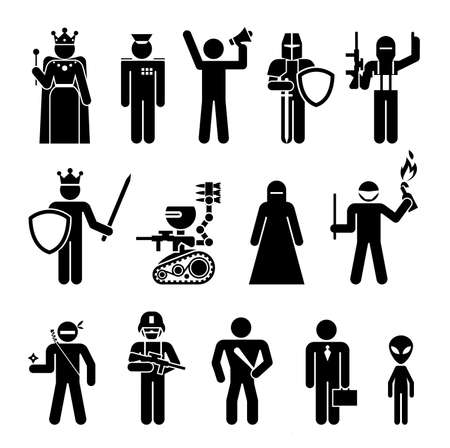 Illustration for Set of icons that represent military and political power. Set of pictograms that represent dangerous people and machines with various professional occupation. - Royalty Free Image