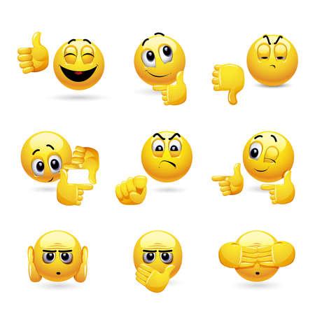Ilustración de Vector set of smiling ball icons with different face expression. Set of emoticons gesturing with his hand. - Imagen libre de derechos