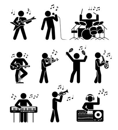 Illustration for Pictogram icon set of different types of musicians. Different types of musical instruments. Club music. - Royalty Free Image