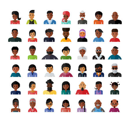 Illustration pour Set of people avatar flat design icons. Collection of avatars related to various types of people face. - image libre de droit