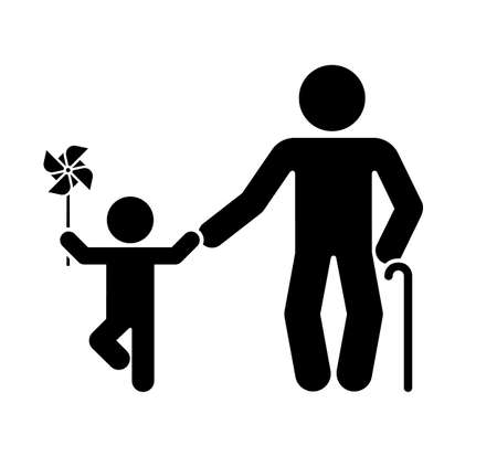Ilustración de Pictogram that represents the grandfather and grandson. Different stages of human life. - Imagen libre de derechos