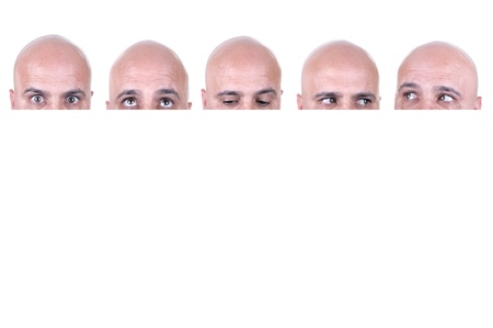 Bald actor faces on white background