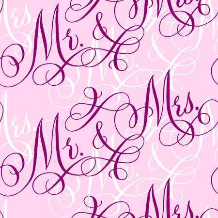 Pink wedding seamless pattern with hand-written traditional words 'Mr. and Mrs'.