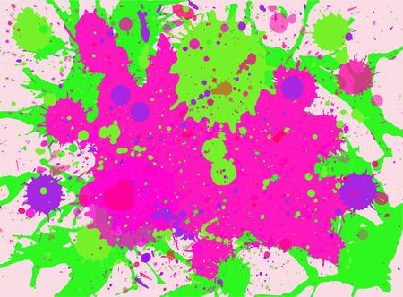 Illustration pour Vibrant bright pink and neon green watercolor paint artistic multicolor splashes background, horizontal format. - image libre de droit