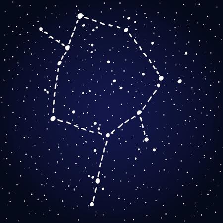 Ophiuchus, thirteenth hand drawn Zodiac sign constellation