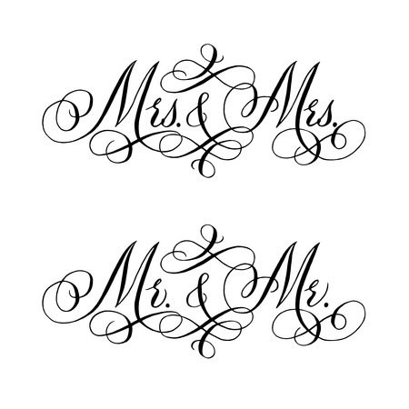 Gay wedding words. Hand written vector design element in black isolated over white. Traditional calligraphy.