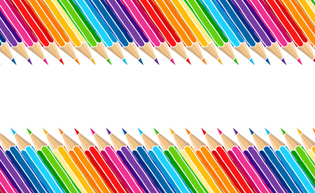 Bright multicolor pencils border isolated over white. Art stationery hand drawn vector illustration blank frame.