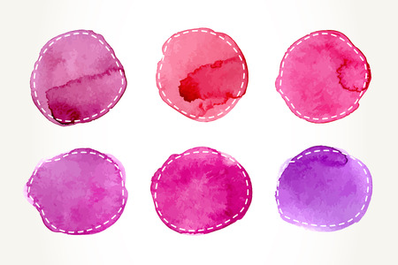 Illustration for Hand drawn pink watercolor circles with dash outline, isolated over white. Vector design elements illustration. - Royalty Free Image