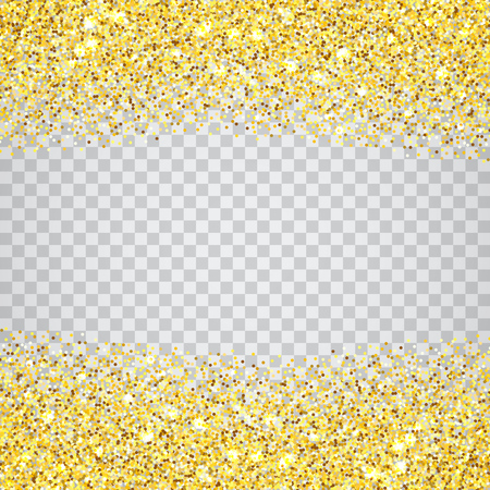 Illustration for Gold glitter texture border over transparent checker background. Abstract golden sparkles of confetti. Vector square backdrop illustration. - Royalty Free Image