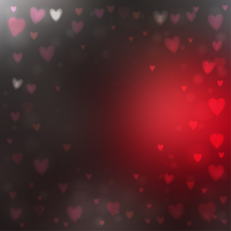 Illustration for Abstract square blur red and gray background with small heart-shaped lights over it. - Royalty Free Image