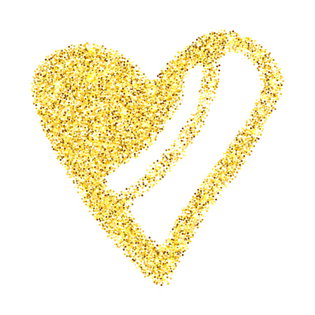 Illustration for Gold glitter heart isolated over white background. Happy Valentines Day golden glamour design element. - Royalty Free Image
