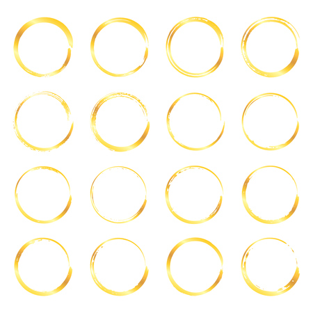 Illustration pour Collection of miscellaneous golden round grunge brush strokes isolated over white background. Set of design elements. Vector illustration. - image libre de droit