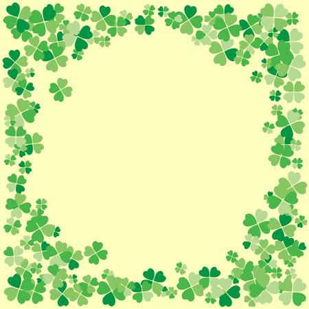 Illustration pour Saint Patrick's Day light vector frame with small green four-leaf clover shamrock leaves. Irish festival celebration greeting card design background. Nature floral spring backdrop. - image libre de droit