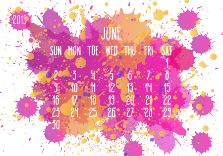 Illustration pour June year 2019 vector monthly calendar. Week starting from Sunday. Hand drawn pink and yellow paint splatter artsy design over white background. - image libre de droit