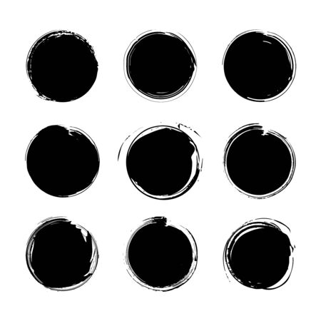 Illustration pour Collection of miscellaneous black grunge round brush strokes isolated over white background. Set of design elements. Vector illustration. - image libre de droit