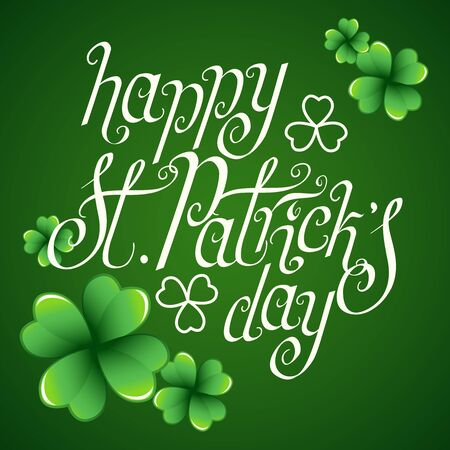 Illustration pour Hand drawn St. Patrick's day greetings over dark green background with clover leaves. Irish holiday festival traditional vector illustration. - image libre de droit