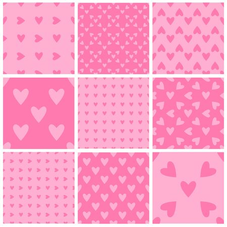 Illustration for Set of seamless soft pink hearts patterns. Valentine's day tile backgrounds. Romantic vector patterns. - Royalty Free Image