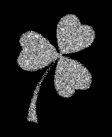 Illustration for Silver glitter clover leaf vector illustration isolated over black. St. Patrick's day objects. - Royalty Free Image