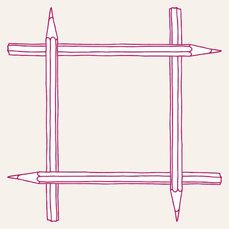 Pink pencil hand drawn vector doodle illustration blank square frame. Stationery crayon border isolated over white.