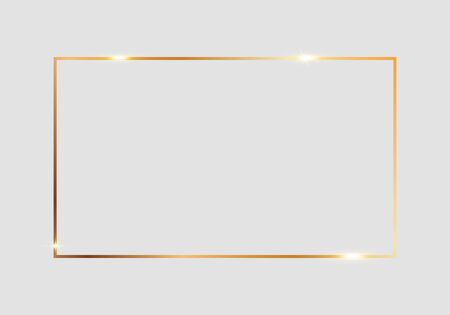 Illustration pour Golden shiny glowing rectangle frame isolated over light gray background. Gold metal luxury blank rectangle border. Vector background illustration template. - image libre de droit
