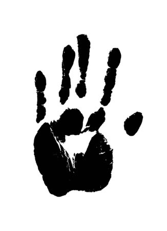 Illustration pour Print of a human hand. Palm imprint in black isolated over white. Vector grunge illustration. - image libre de droit