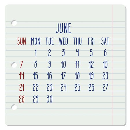 Illustration pour June year 2020 vector monthly calendar on a ruled notebook page. Hand written note pad sheet typography. Week starting from Sunday. - image libre de droit
