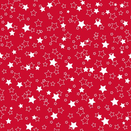 Illustration for American patriotic stars seamless pattern in bright red, blue and white. Independence day vector background. - Royalty Free Image