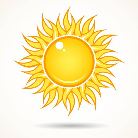 Illustration for Summer bright shining sun on the sky, isolated over white. - Royalty Free Image