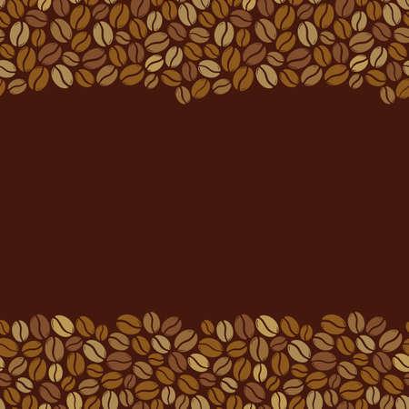 Illustration pour Roasted coffee beans blank square dark brown frame. Graphic menu template vector illustration. - image libre de droit