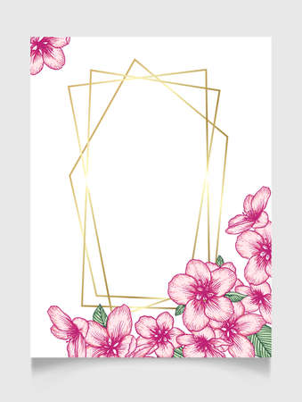 Illustration pour Vector botanical floral wedding invitation elegant card template with pink apple flowers and golden frame. Romantic design for greeting card, natural cosmetics, women products. - image libre de droit