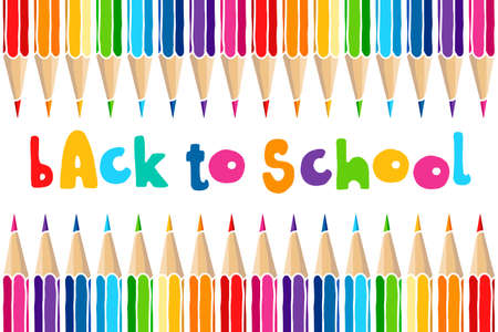 Illustration pour Hand drawn vector doodle Back to School words and multicolor crayon pencils isolated over white background. Education greetings illustration. - image libre de droit