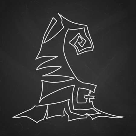 Illustration pour Witch hat with buckle. Hand drawn Halloween celebration design element symbol. Vector contour chalk illustration in white over black chalkboard. - image libre de droit