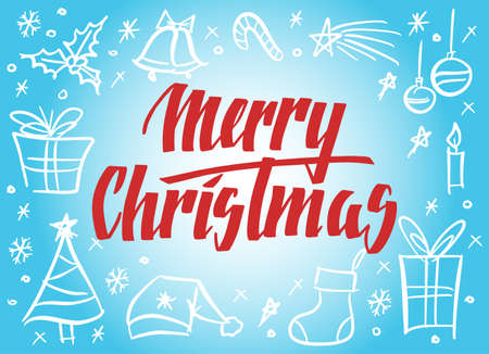 Ilustración de Handwritten Christmas greetings, modern festive calligraphy lettering. Holiday season items blue and red design, vector illustration. - Imagen libre de derechos